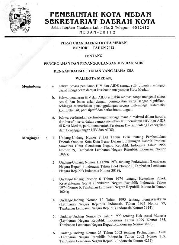 Book Cover: Peraturan Daerah Kota Medan No 1 Tentang HIV dan AIDS